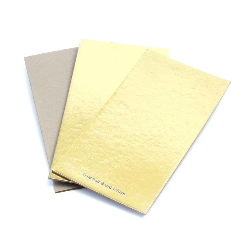 Gold foil board 1.9mm thick 100% recycled stiff grey cardboard paper