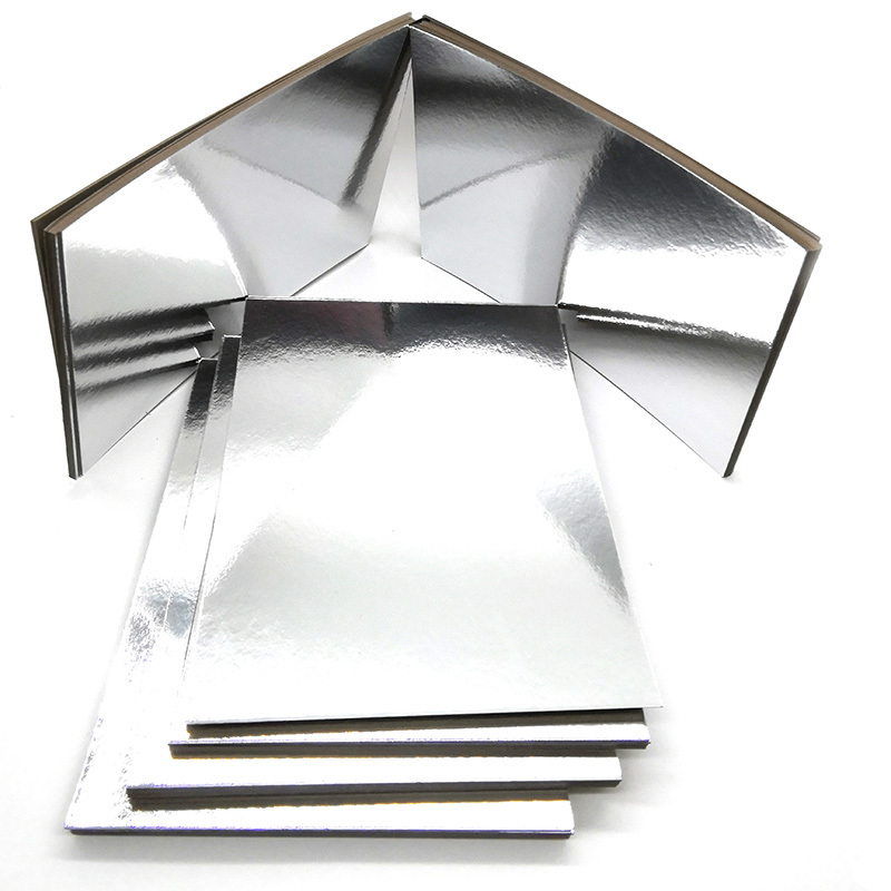 Glossy Foil Paper Grey Back Metallic Silver Paper Board