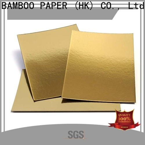 NEW BAMBOO PAPER stiff silver foil board free design for dessert packaging